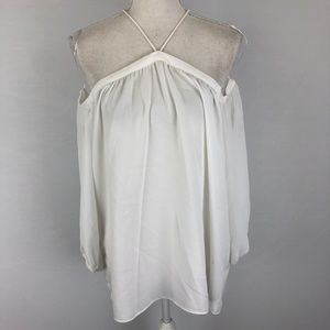 1.STATE Off the Shoulder Sheer Chiffon Blouse M